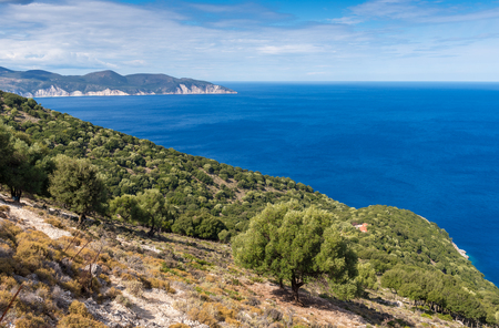 Coastal landscape in the northern part of Kefalonia island. View from above. Greece