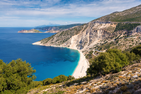 Amazing Myrtos beach on Kefalonia island. One of the best beaches in Greece. Stock Photo