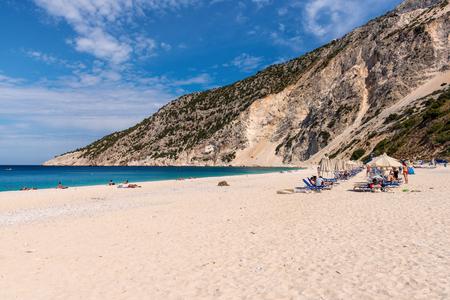 KEFALONIA, GREECE - September 30, 2017: Beautiful Myrtos beach with white sand and blue sea water on Kefalonia island. Greece.