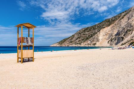 The beautiful beach at Myrtos Bay on the Ionian island of Kefalonia. Greece