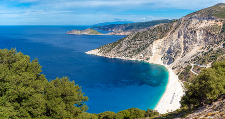 Panoramic view of beautiful Myrtos beach on Kefalonia island. One of the best beaches in Greece.