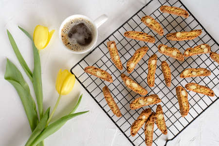 Cantuccini - italian cookies with chopped almonds. 写真素材