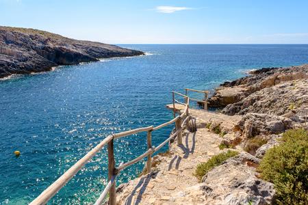 Walkway to Porto Roxa beach on Zakynthos island, Greece