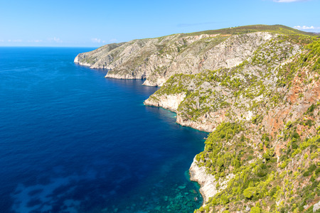 Bay and high cliff in Porto Schiza on Zakynthos island. Greece.