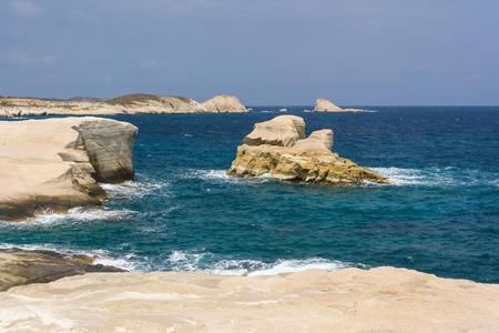 Volcanic rocks of Sarakiniko beach on Milos island. Cyclades, Greece. 版權商用圖片
