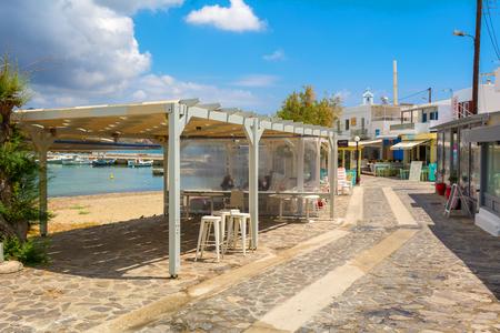 MILOS, GREECE - May 18, 2017: Coastal promenade in Pollonia village on Milos Island. Greece.