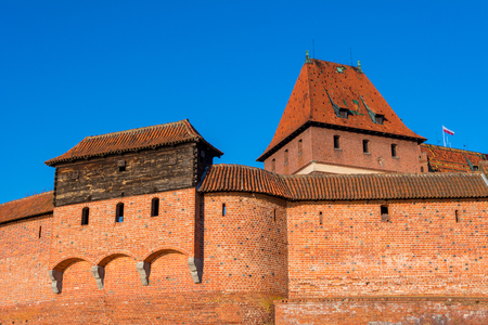 Closeup of Malbork defensive wall of Malbork castle in Poland,