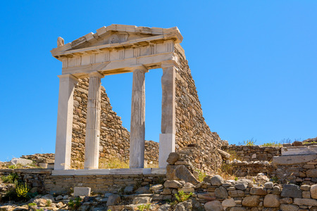 The Temple in Archaeological Site of Delos island, Cyclades, Greece.