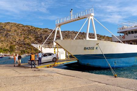 ZAKYNTHOS, GREECE - September 30, 2017: Vasos K, passenger ship unloading at the port of St. Nikolaos during the summer season. Zakynthos island, Greece Redakční