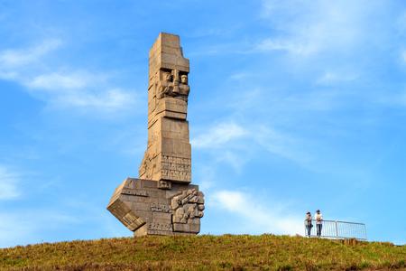 GDANSK WESTERPLATTE, POLAND - April 15, 2018: Westerplatte Monument in memory of the World War II in 1939.