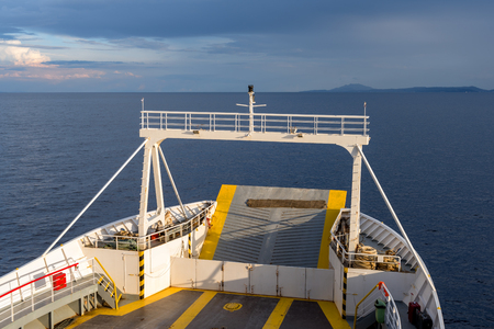 Front passenger ferry at sea in sunlight. Greece