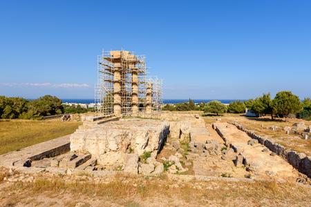 The Temple of Pythian Apollo in restoration work. Acropolis of Rhodes. Rhodes island, Greece