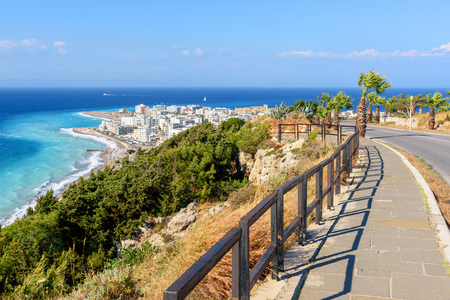 Coastal promenade with view of Rhodes town. Greece