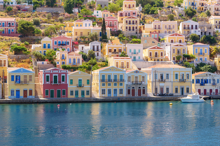 Beautiful architecture of the island of symi. Greece
