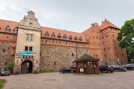 BYTOW, POLAND - June 1, 2018: Front of Gothic teutonic Knights castle in Bytow. Poland