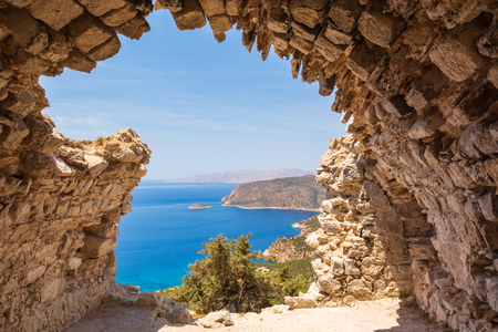 Sea view from the ruins of a small chapel. The castle of Monolithos on Rhodes island. Greece Banco de Imagens