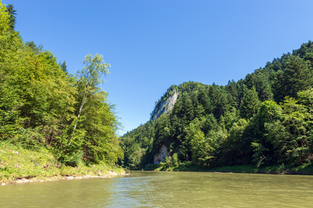 Dunajec river in Pieniny National Park. Dunajec is a popular tourist spot for boat rafting. Poland. Stock Photo