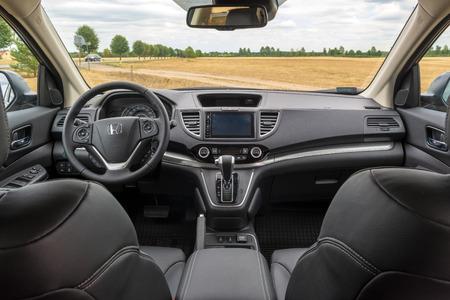 POLAND - July 8, 2018: Details of Honda CR-V car interior.