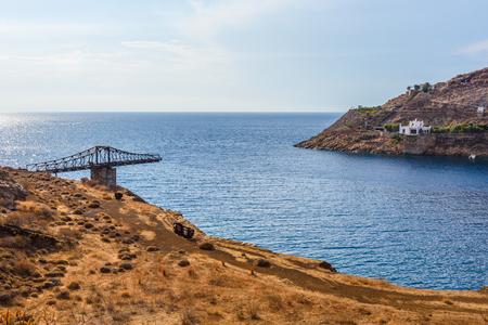 The area of Megalo Livadi and remains of mine bridge. Serifos island, Greece