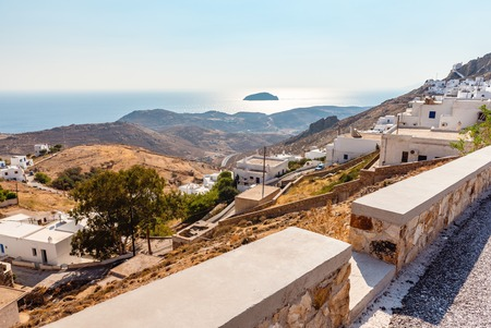 Beautiful landscape with view of Livadi bay. Serifos island. Greece