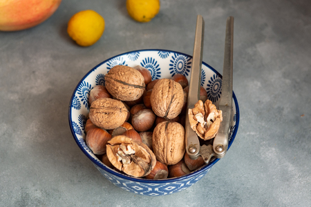 Different types of nuts in a bowl.