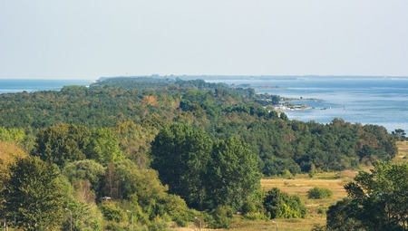 Hel Peninsula and the Baltic Sea, view from the top of the tower in Wladyslawowo. Poland Stock Photo
