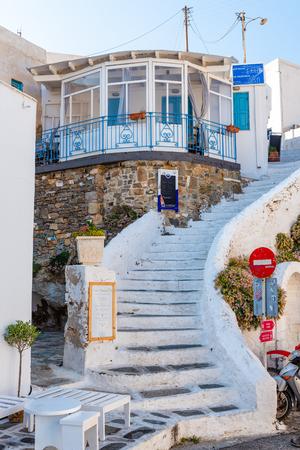 SERIFOS, GREECE - September 9, 2018: Staircases to traditional Greek tavern. Chora, Serifos island. Cyclades, Greece