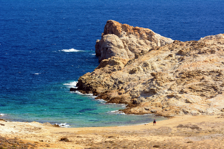 Rocks and blue sea water. Agios Sostis beach in Serifos. Cyclades, Greece Reklamní fotografie