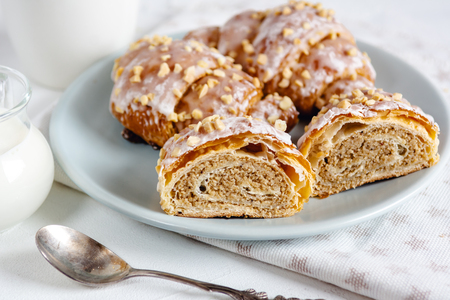 Polish traditional Saint Martin's croissants.Traditional pastries with white poppy seeds and nuts. Zdjęcie Seryjne