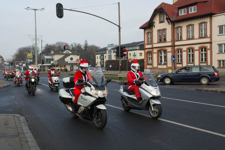 GDANSK, POLAND - 2 December, 2018: Christmas parade of Santa Clauses motorcycle riders just before Christmas on the streets of Gdynia, Sopot and Gdansk.