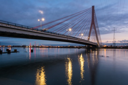 Cable stayed bridge over Martwa Wisla river at dusk in Gdansk. Poland Europe