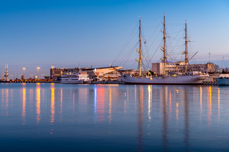 GDYNIA, POLAND - January 7, 2018: The Dar Pomorza (The Gift of Pomerania) at harbor in Gdynia.