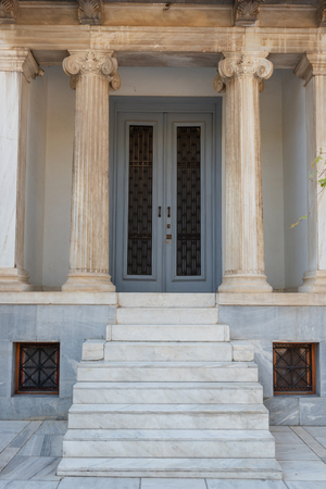 ATHENS, GREECE - September 14, 2018: Traditional Greek building with marble columns in the center of Athens.
