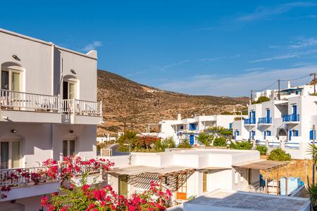 Greek whitewashed summer villas in beautiful Kamares village on Sifnos island, Greece