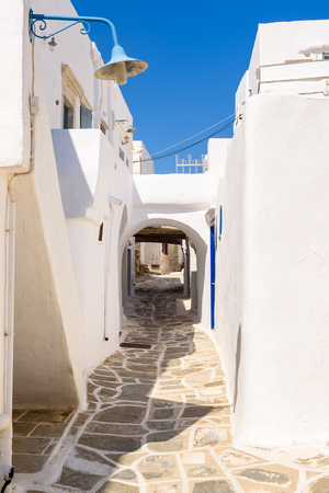 The narrow street of Kastro, the ancient capital of Sifnos. Cyclades, Greece. Europe