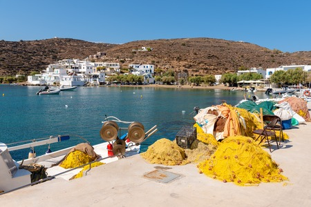 Fishnets in the port of the fishermen village of Faros in Sifnos. Greece