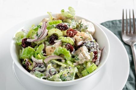 Salade met bleekselderij, kip, cranberry, rode ui, dille en yoghurt. Stockfoto