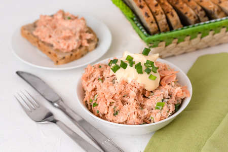 Smoked trout paste with mayonnaise and chives