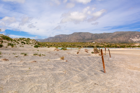 Scenery of desert at the reserve zone with sand dunes on Elafonisi beach, Crete island, Greece Фото со стока