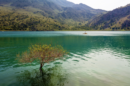 Lake Kournas, natural lake in Crete, surrounded by high mountains and located near the village Kournas. Crete island, Greece