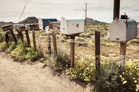 Row of old USmail boxes along Route 66, California, USA 스톡 콘텐츠