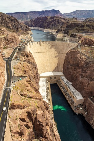 Dam, a concrete arch-gravity dam located on the Nevada and Arizona border, a top tourist attraction. USA 写真素材