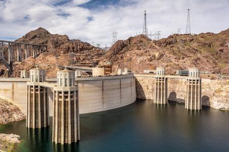 Intake towers of the Dam between Arizona and Nevada, USA