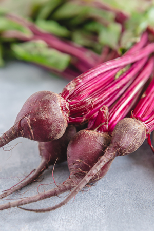 Group of chard with beetroots. Young beetroot with fresh leaves.