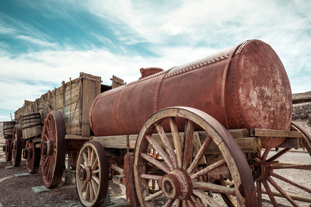 Historic wagon that was used in mining and transferring the borax from Death Valley to the Mojave by the twenty mule team. California, USA
