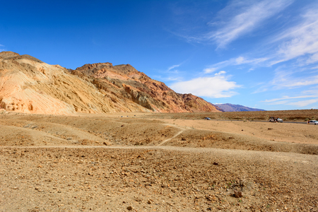 Desert landscape with geologic formation. Artist's Drive in Death Valley National Park, California, USA