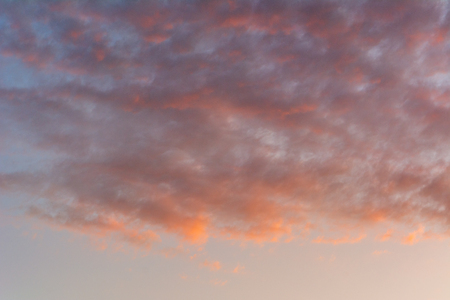 Pastel color evening sky and amazing clouds.