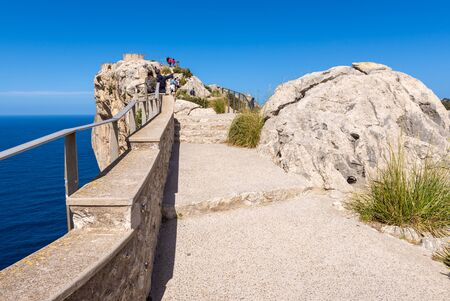 Walkway to the Mirador es Colomer - the main viewpoint at Cap de Formentor located on over 200 m high rock. Mallorca, Spain
