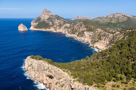 Cap de Formentor - famous nature landmark with amazing rocky coastline on Mallorca, Spain, Mediterranean Sea