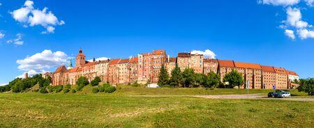 Panorama of historic granaries in Grudziadz at the Vistula River in Poland
